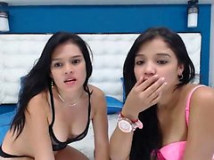 two brunette teens strip and lick - viewcamgirls,com