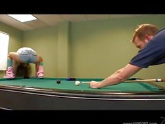 Teen fucked on table pool