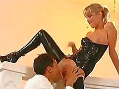 Young pretty Malisa Moir in sexy leather underwear makes guy happy with her cunt
