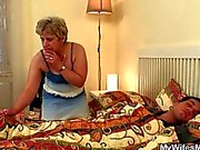 granny is sucking on the dudes sweet hard dick well