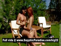 Superb brunette and redhead lesbians kissing and licking nipples