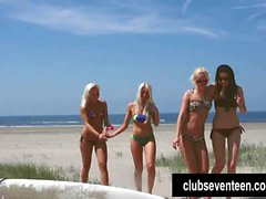 Surfer lesbian teens lick and finger pussies