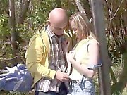 Real big tits teen Abby blowing man rod outdoor
