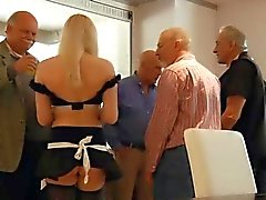 Oldmen group fuck sexy blonde teen all over