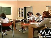 Horny teens getting a good dp fuck in the class
