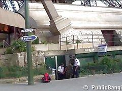 Eiffel Tower risky public threesome sex. AWESOME!
