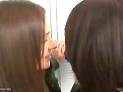 Teen girlfriends kissing and dildoing their asses