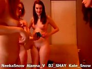Gorgeous teen lesbian licking a MILFs hot boobs