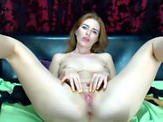 Redhead girl next door in sexy lingerie toys her shaved