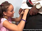 Shameless daughter takes a big black cock in front of dad