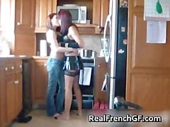 Pussy licking lesbian gfs in the kitchen part1