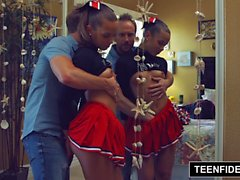 TEENFIDELITY Cute Cheerleader Liza Rowe Shakes Her Pom Poms