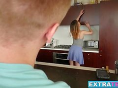 Gorgeous brunette Kristen Scott gets a facial from neighbor