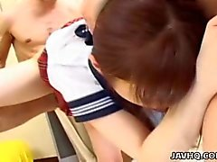 Shy Japanese schoolgirl gets fucked by horny men