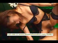 Mihiro innocent Chinese in lovely black lingerie gets a hard fucked