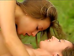 Two teens intimate lesbo sex while having a picnic outdoors