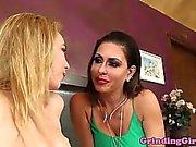 Young lesbian eats pierced mature pussy