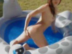 Kinky Skinny Teen Masturbates In Mini Pool