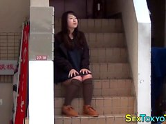 Asian teen flashes panty