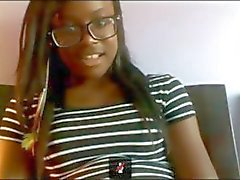 Ebony teen playing on cam