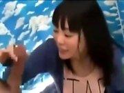 Skinny Amateur Asian teen masturbates with big dildo