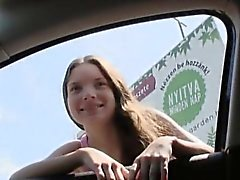 Cute amateur brunette teen Anita B nailed in public place