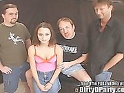 Tiny Tit Cutie Group Fucked Jizz Party!