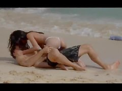 Passionate set on the beach with hot kissing