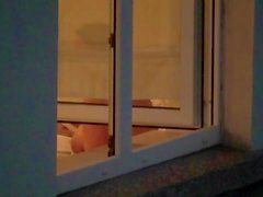 Chubby nerd voyeured in open window: My neighbour