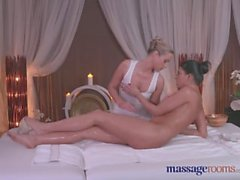 Massage Rooms Sexy blonde gives black haired beauty an intense orgasm