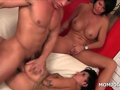 Chesty mom and daughter pussy smashed in 3some