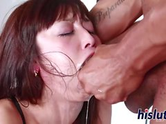 Busty brunette pleasures a big black cock