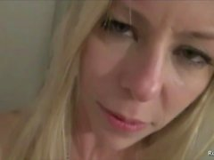 Hot cougar wanted young cock in the bathroom