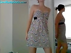 Cute Teen Rubs Her Pussy In Dress On Cam