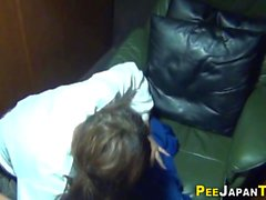 Asian teen wets her panty