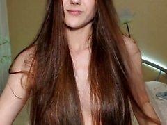 Amateur brunette webcam girl stripping