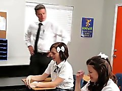 Uh oh busted schoolgirls need to fuck the teacher