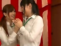 Japenese office hottie makes him cum