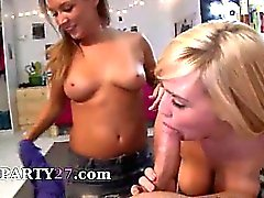 Two horny college girls smoking dick