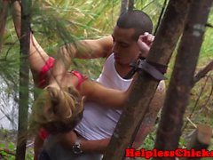 Dominated teen beauty banged hard outdoors