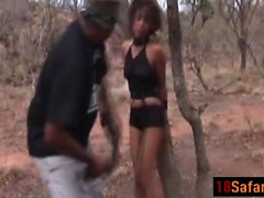 Ebony African teen fucked by long two cocks