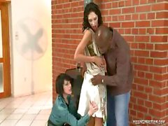 Out in the alley, a pair of hottie young slutty brunettes get some golden shower fun with a black man