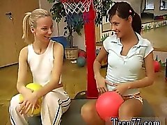 Cindy and Amber romping each other in the gym