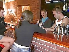 Drunk teen chicks nailed roughly in the bar