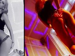 Spanish blonde teen squirts in strip-club