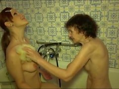Wrinkled granny and tight teen take a bath