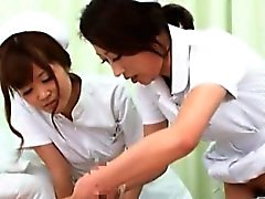 Teen horny Japanese nurses having a threesome at work