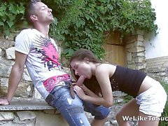 Public blowjob for the college hottie