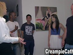 Her 1st Creampie Gangbang