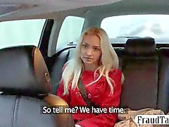 Hot blonde teen amateur has sex with her taxi driver